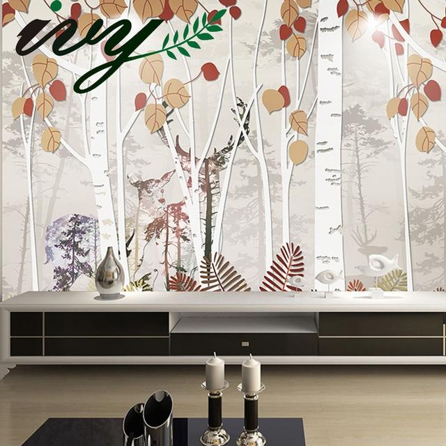 17 85 Ivy Morden Peinture Cerf Forêt Fonds D écran De Dessin Animé Personnalisé De Grandes Murales Papiers Peints Pour Les Murs Accueil Décor Une