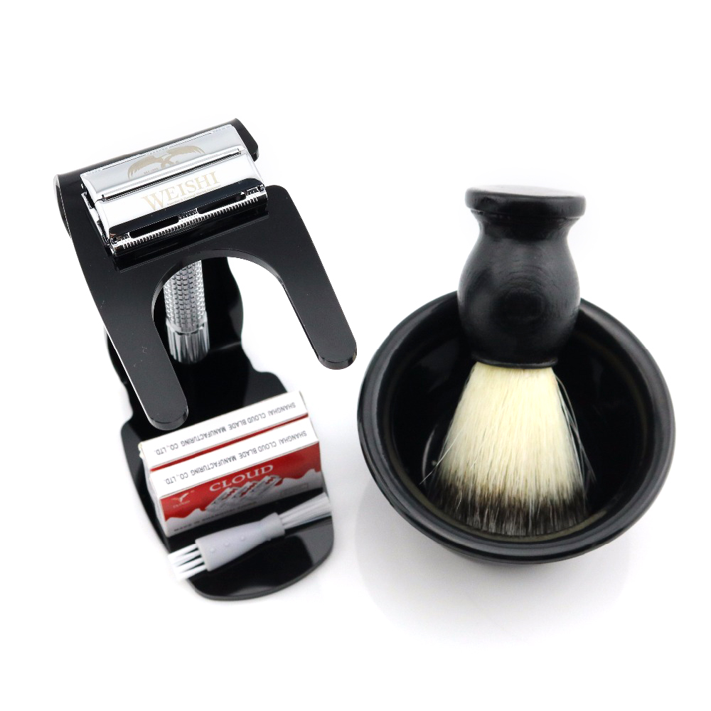 WEISHI Safety Razor 9306-F 9306-C Gun Color  9306-I Bronze  Matte Black With Stand + 20 PCS Blades + Bowl + Shaving Brush NEW