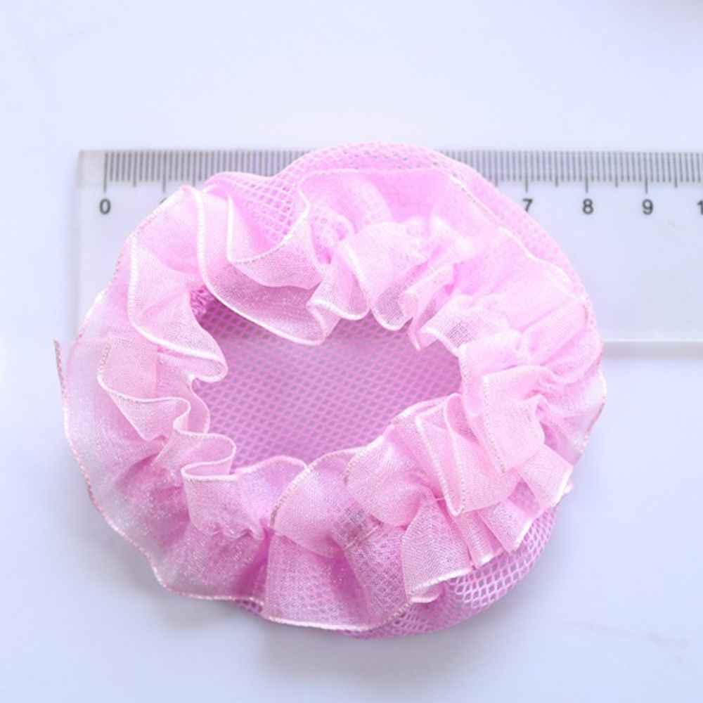 หญิงน่ารักดอกไม้ลูกไม้ Reusable Bun Nets สำหรับนักเต้นเด็ก Bun สุทธิ COVER อุปกรณ์เสริมบัลเล่ต์ Dancewear
