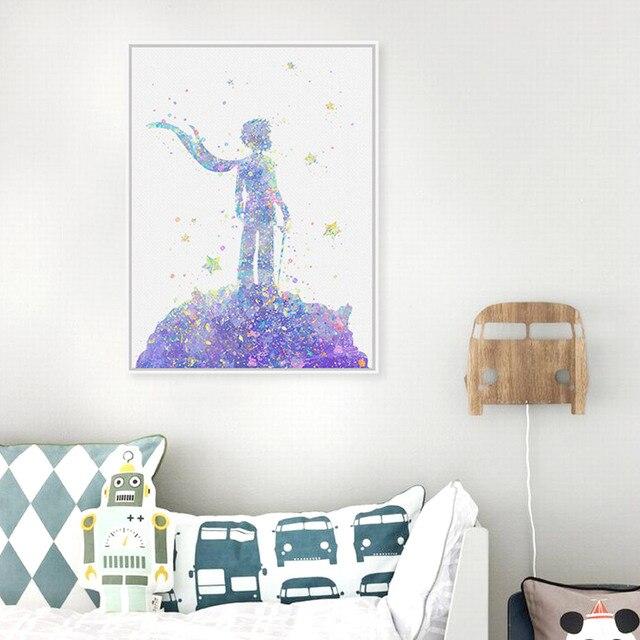 Оригинальные Акварели Маленький Принц Movie Poster Print Аниме Фото Подарки Детская Комната Wall Art Украшения Холст Картина Без Рамки
