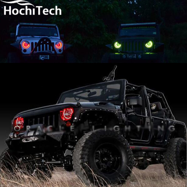 For Jeep Wrangler RGB LED Headlight Halo Angel Eyes Kit Car Styling  Accessories 2007 2008 2009