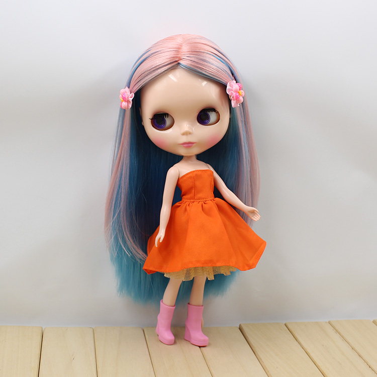 Free shipping icy blyth doll bjd licca 230BL16576022 BLUE MIX PINK HAIR shiny face normal body 1/6 30cm gift toy 1pair shoessuitable for 1 6 doll normal doll joint doll bjd blyth icy jecci five licca body for 30cm doll shoes