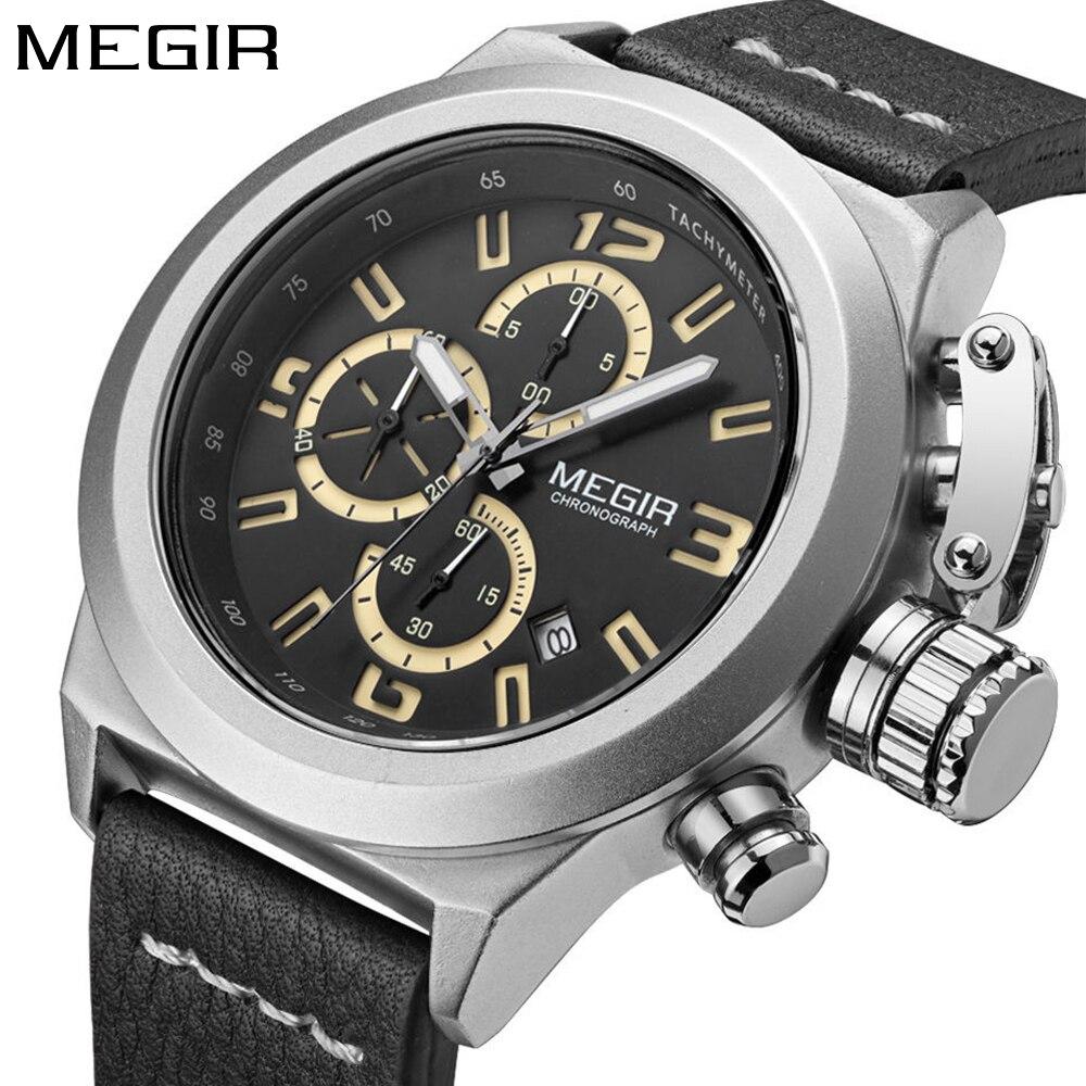 MEGIR Fashion Army Stylish Fashion Sport Watch Men Large Dial Chronograph Quartz Men's Wrist Watches Leather Relogio Masculino
