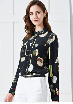 Plus - size Long-sleeve printed silk blouses for women in spring and summer of 2020  shirt