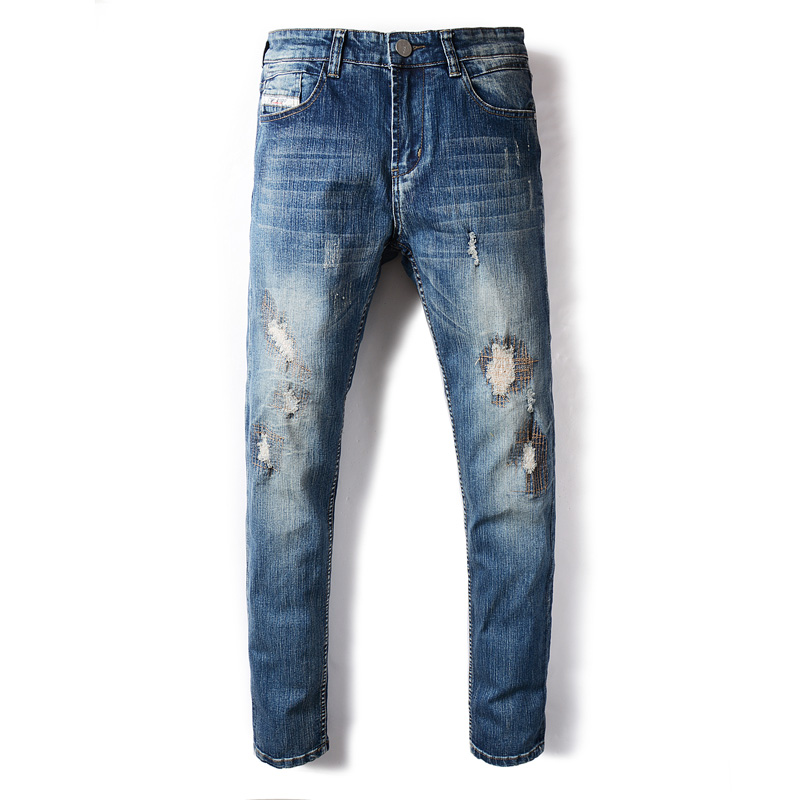 DSEL Brand Mens Jeans Blue Color Summer Style Frayed Hole Patchwork Ripped Jeans For Men Elastic Stretch Skinny Jeans Pants patch jeans men slim skinny denim blue jeans ripped trousers famous brand dsel jeans elastic pants star mens stretch jeans w701