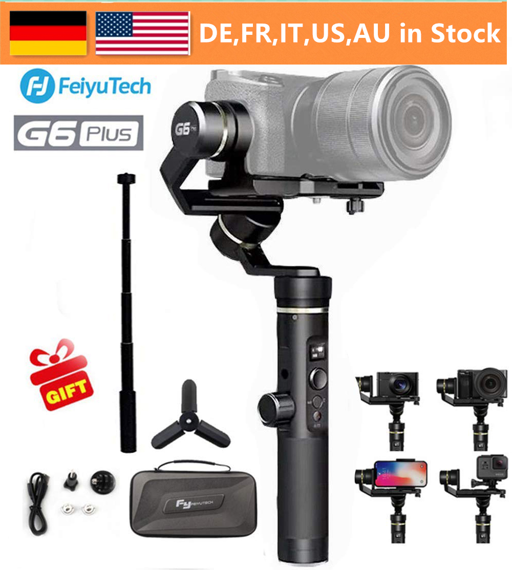 Feiyu G6 Plus 3-Axis Brushless Handheld Gimbal Stabilizer Splash-Proof 800g Payload 12 Hours Running Time for Smartphone//Action Camera Gopro//Digital Cameras Extension Bar Tripod Adapter