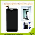 100% Original For Xiaomi Redmi Note 2 LCD Display +Touch Screen Digitizer Assembly Replacement +Tempered Glass+Tools