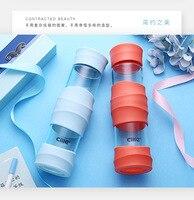 470 мл Стекло Бутылки Воды Кофе Чай цветок бутылка Силиконовые уплотнения герметичность С Веревки конфеты цвет