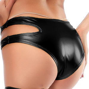Image 3 - Candy Color PU Patent Leather Hot Women Hollow Out Boxer Glitter Pole Dance Booty Shorts Sexy Panties Low Waist Short Trousers