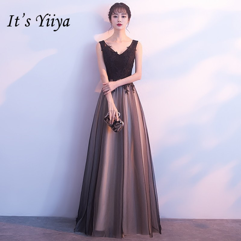 It's YiiYa New Sleeveless V--neck Formal   Dresses   Fashion Backless   Evening     Dress   YG006