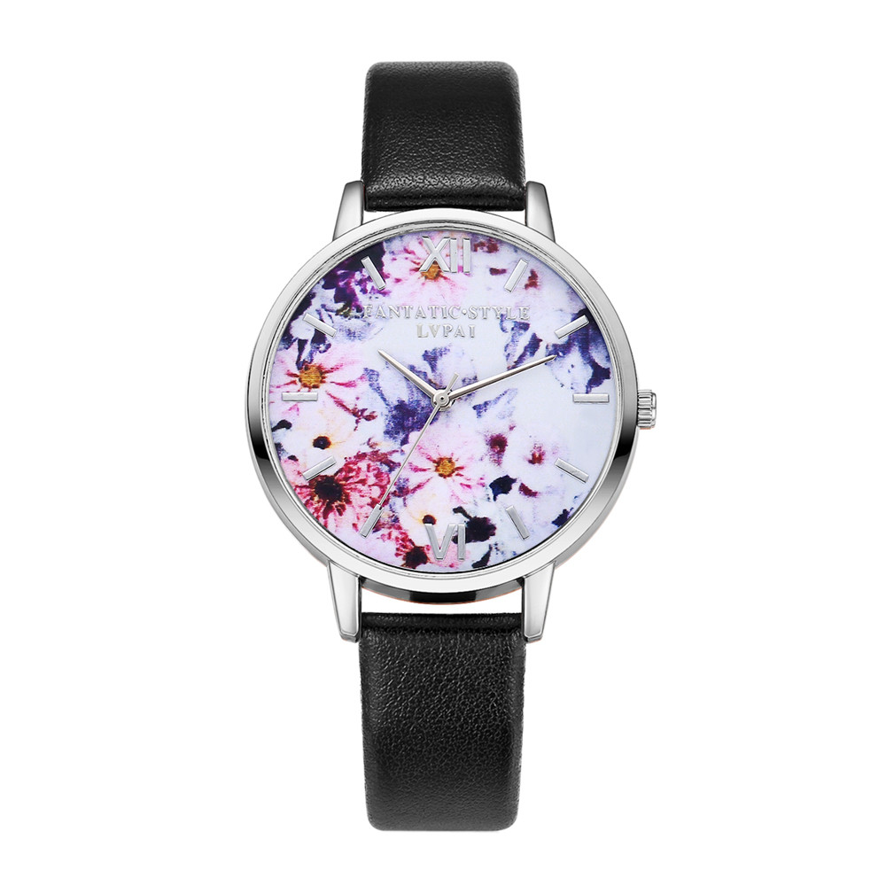 LVPAI High Quality Beautiful Fashion Women Vintage Print Watch Leather Casual Round Analog Quartz Wrist Watch For Women Clock #ALVPAI High Quality Beautiful Fashion Women Vintage Print Watch Leather Casual Round Analog Quartz Wrist Watch For Women Clock #A