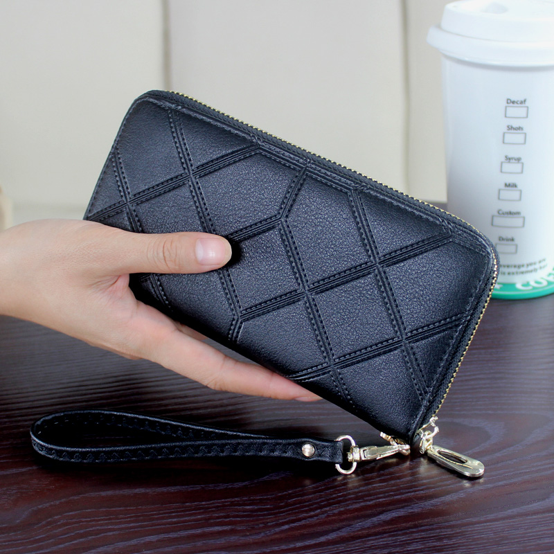 DORANMI Leather Women's Wallet Purse 2019 Geometric Wristlet Handbags Long Money Bag Ladies Coin Purse Cards ID Holder NPJ002