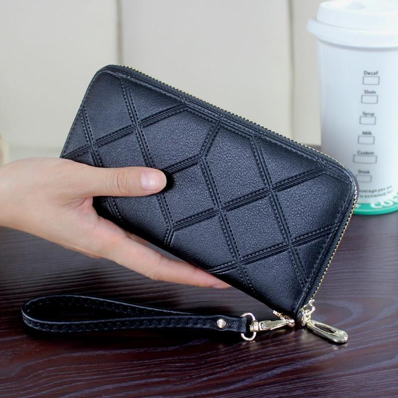 DORANMI Leather Women's Wallet Purse 2019 Geometric Wristlet Handbags Long Money Bag Ladies Coin Purse Cards ID Holder NPJ002