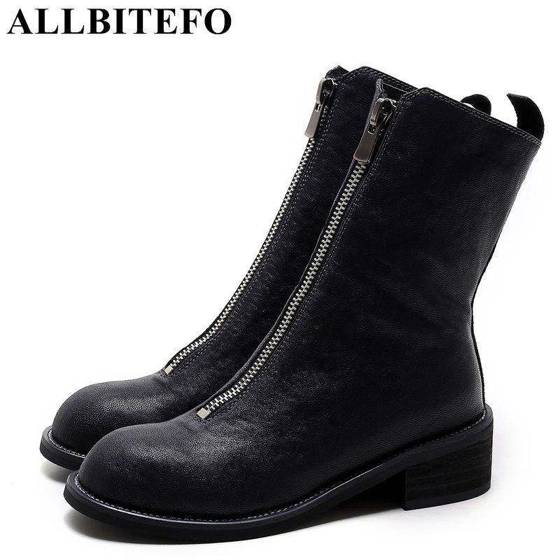 ALLBITEFO new fashion brand genuine leather thick heel women boots medium heel martn boots ankle boots woman girls shoes woman pneumatic solenoid air valve 3 way 2 position nc 1 8pt 3v1 06 dc12v dc24v ac110v ac220v