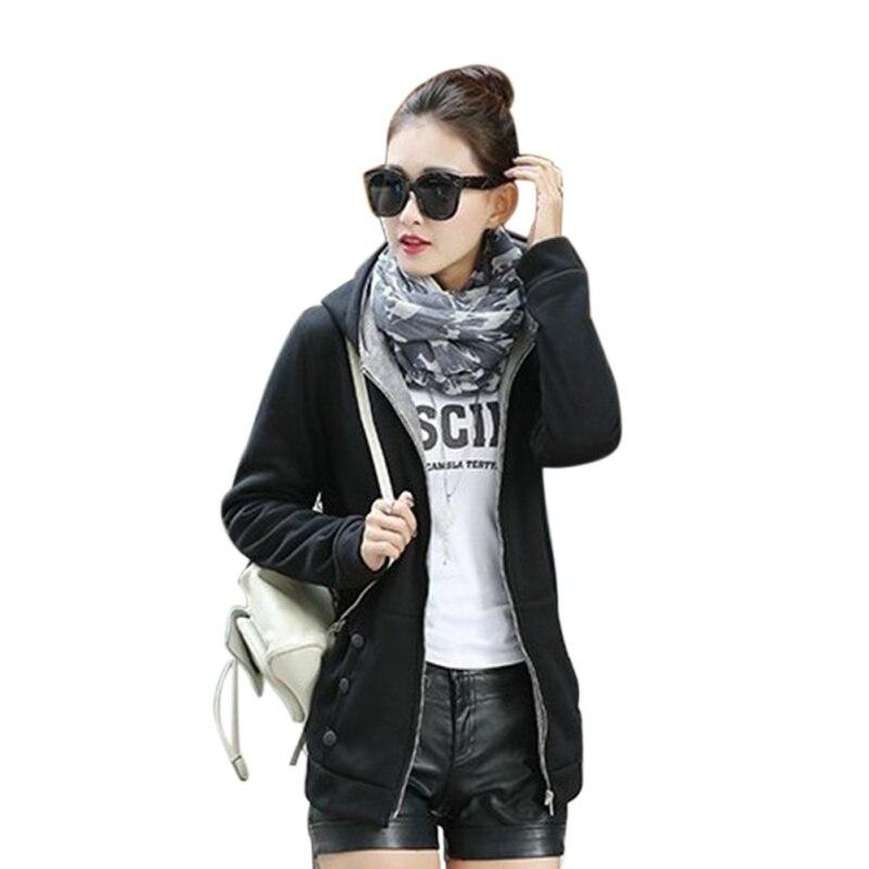 Fashion Zipper Jacket Solid Feminino Women Hoodies Sweatshirts 2019 Winter Womens Zipper Hoodies Sweatshirt in Hoodies amp Sweatshirts from Women 39 s Clothing