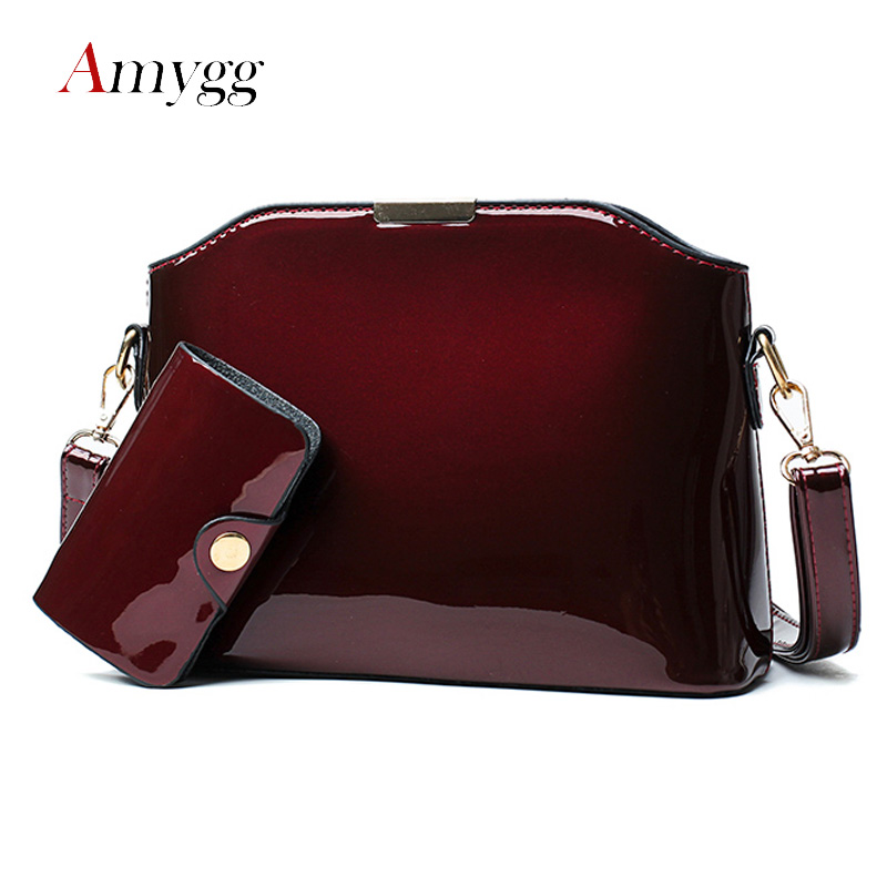 High Quality Sequin Patent Leather Women Handbag Set Shell Bag Vintage Crossbody Women Messenger Bags Small Shoulder Bag Purse