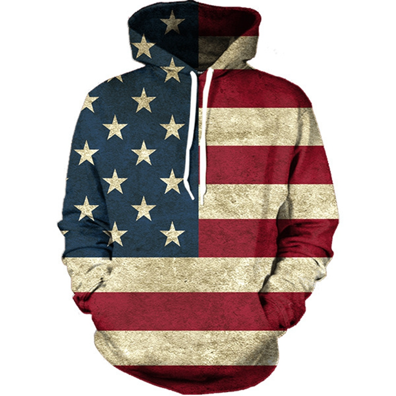 Autumn Winter Thin Hoody Hoodies Men women 3D Sweatshirts With Cap Print USA Flag Butt Casual