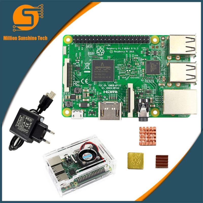 Raspberry Pi 3 Model B Starter Kit-pi 3 Board / Pi 3 Case / EU Power Plug/with Heatsinks Pi3 B/pi 3b With Wifi Bluetooth