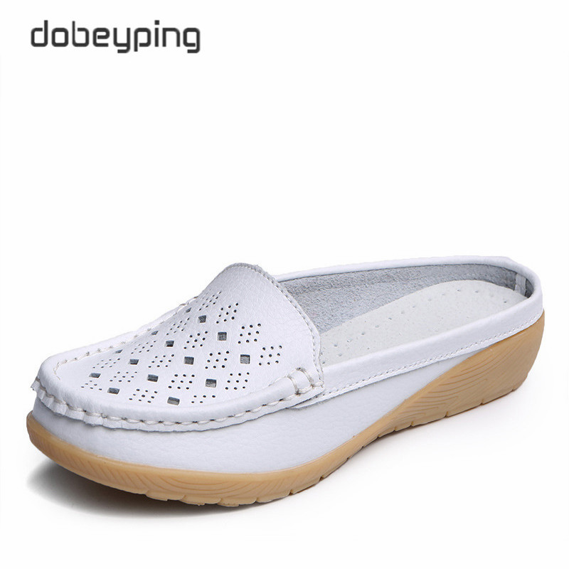 dobeyping Cut-Outs Summer Woman Shoes Genuine Leather Women Flats Hollow Women's Loafers  Soft Mother Moccasin Shoe Size 35-41(China)