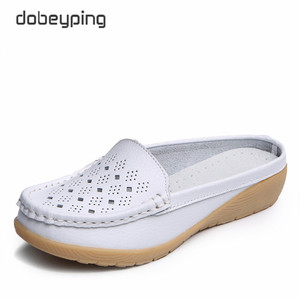 Image 1 - dobeyping Cut Outs Summer Woman Shoes Genuine Leather Women Flats Hollow Womens Loafers  Soft Mother Moccasin Shoe Size 35 41