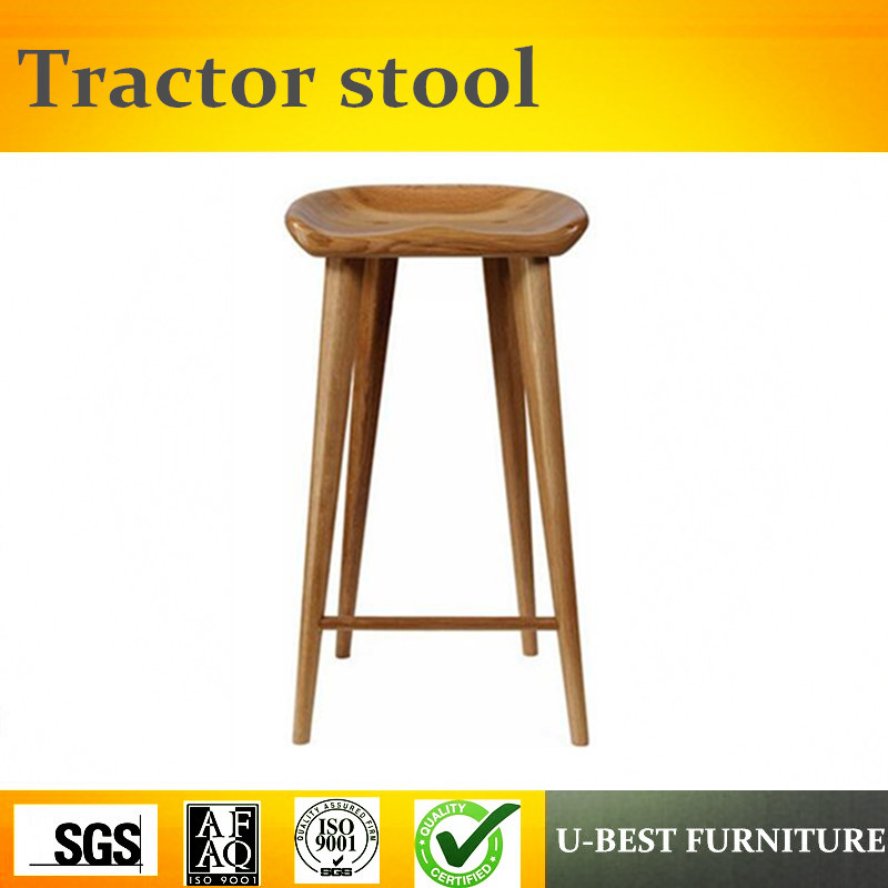 Free Shipping U-BEST  Hotel Luxury Solid Wood Factory Design Bar Stool ,contemporary Solid Wood Counter Tractor Barstool