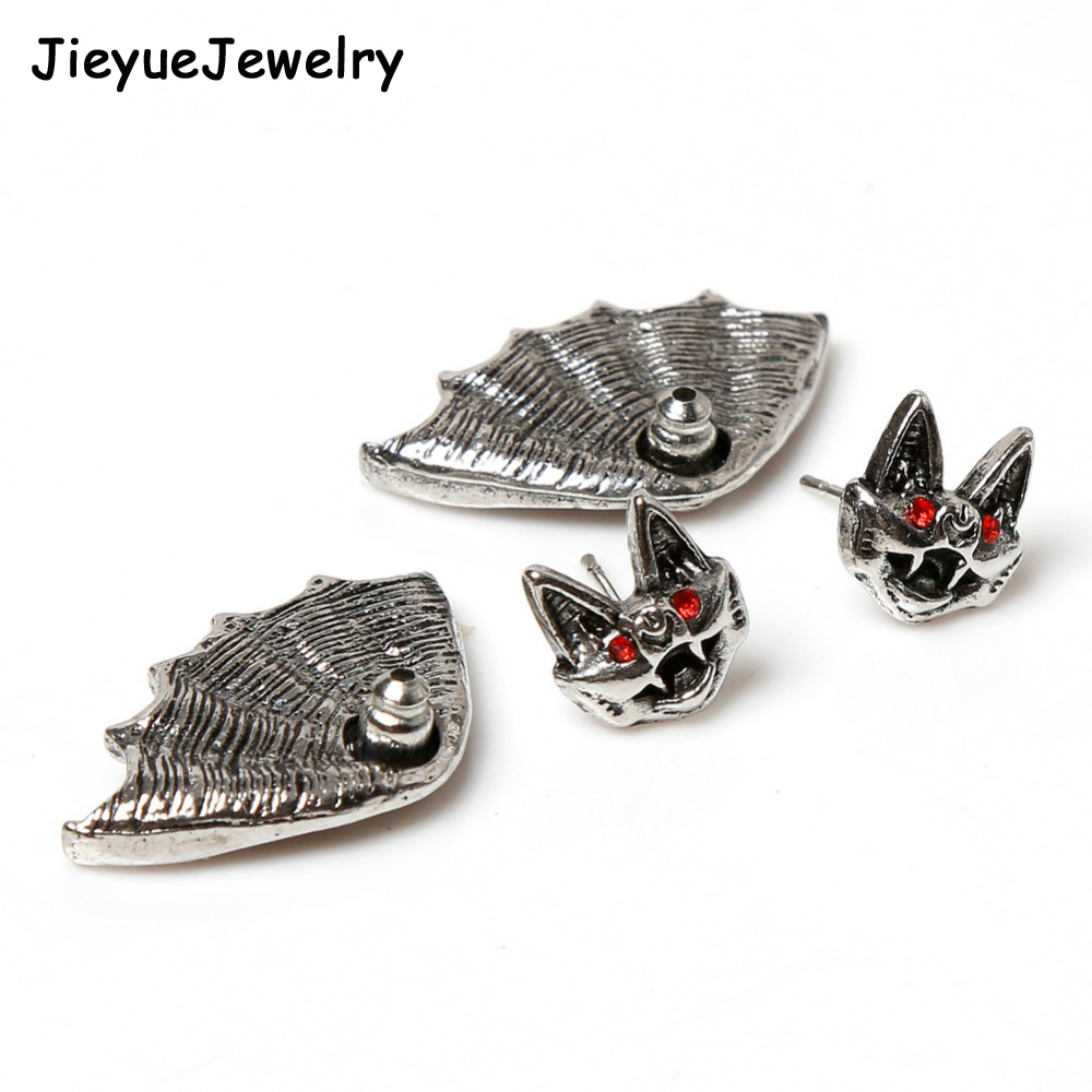 Nightclub Personality Punk Style Unisex Crystal earrings Bat Shaped Earrings - Color Silver Plated Charming Jewelery