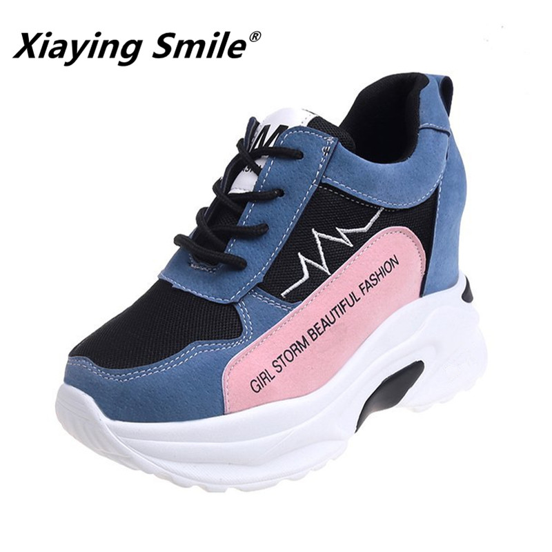 Xiaying Smile Women Wedges Shoes Spring/Autumn Popular Patchwork Sewing Heel High Shoes Ladies Student Fashion Casual Shoes xiaying smile new spring autumn women pumps british style fashion casual lace shoes square heel pointed toe canvas rubber shoes