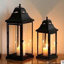 Горячая Распродажа уличное использование черная железная рамка свеча латерн фонарь типа «летучая мышь»