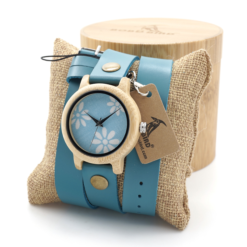 BOBO BIRD Women Watches Bamboo Wooden Quartz Watches ladies with Long Leather Strap in Gift Box relogio feminino custom logo bobo bird women wooden bamboo watches ladies quartz watch gift for girl in wood box custom logo