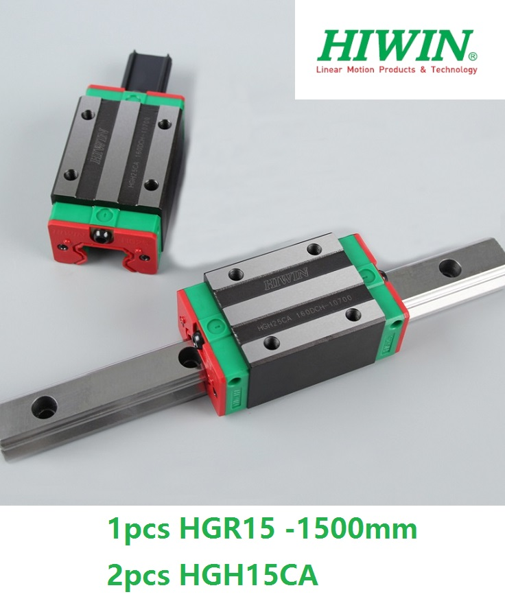 1pcs 100% original Hiwin linear guide linear rail HGR15 -L 1500mm + 2pcs HGH15CA linear narrow sliding block for cnc router original hiwin linear guide hgr15 l600mm rail 2pcs hgh15ca narrow carriage block