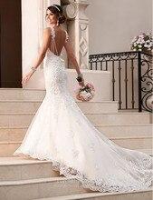 2018 New Arrival Wedding Bridal Dresses Sexy Mermaid Spaghetti Straps Backless Bridal Gown Vestido De Casamento