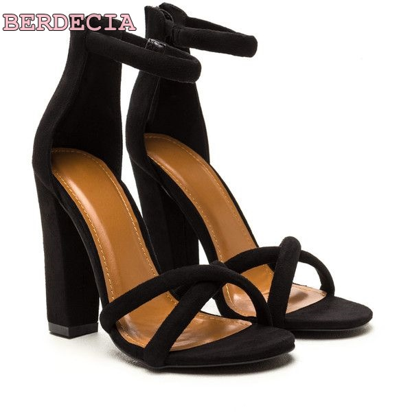 856515a4878d14 sandals toe summer sandals single shoes heel thick black ladies classic  buckle woman suede open leather
