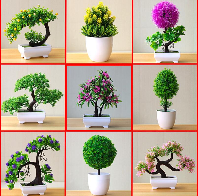 NEW Artificial Plants Bonsai Small Tree Pot Plants Fake Flowers Potted Ornaments For Home Decoration Hotel Garden Decor fake rose flowers