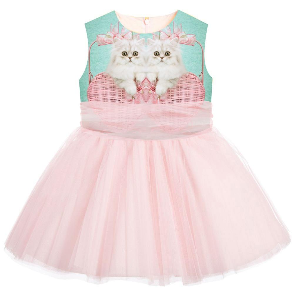 Princess Belle Cat Print Fairy Dress Kids Fancy Party