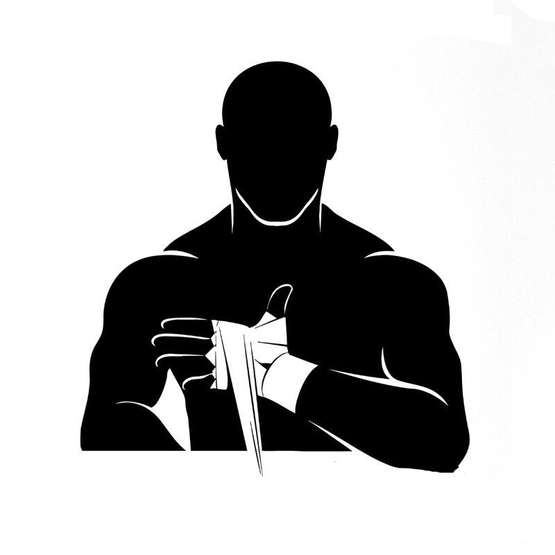 13.6CM*14.5CM Fashion Boxing Martial Arts Sports Black/Silver Car Stickers Vinyl S9-0558