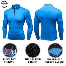 Męskie czopiarki szkolenia i ćwiczenia sweter 3D obcisłe elastyczne Quick dry Wicking Sport siłownia do biegania z długim rękawem stojak kołnierz swetry