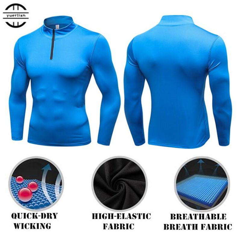 Mens Shapers Trainning&Exercise Sweater 3D Tight Elastic Quick dry Wicking Sport GYM Running Long Sleeves Stand Collar Sweaterssweater 3dtrain traintrainning men -