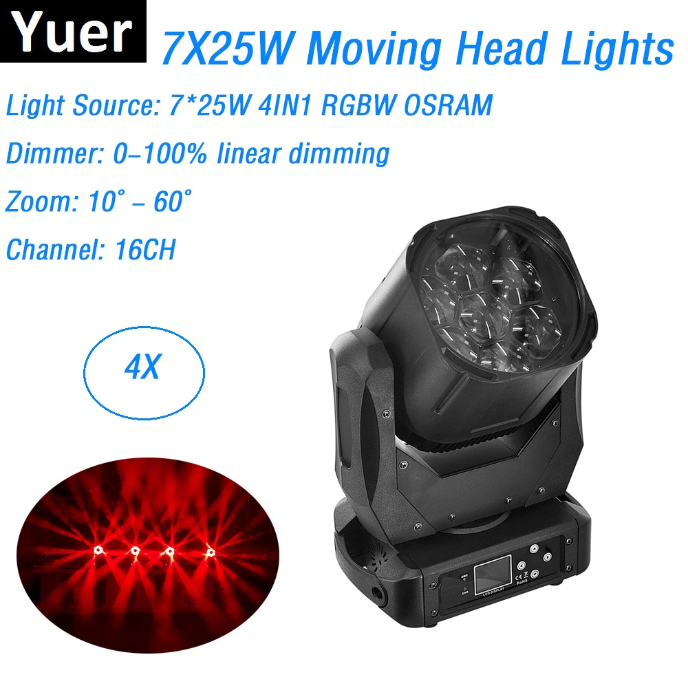 7X15W RGBW 4IN1 Beam / Zoom Lights DMX512 Moving Head Lights Professional Stage Dj Bar Party Disco Lighting Shows Equipments