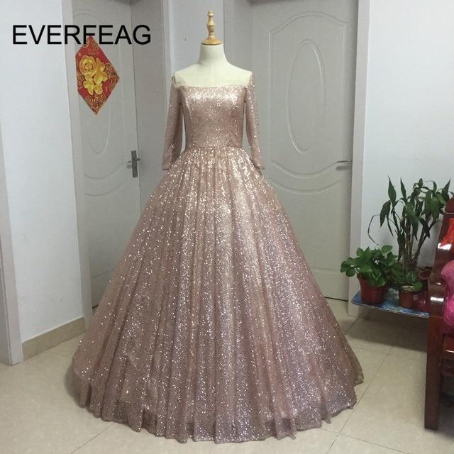 Abaya Dubai Kaftan Prom Dress 2018 Bling Rose Gold Long Dress Party