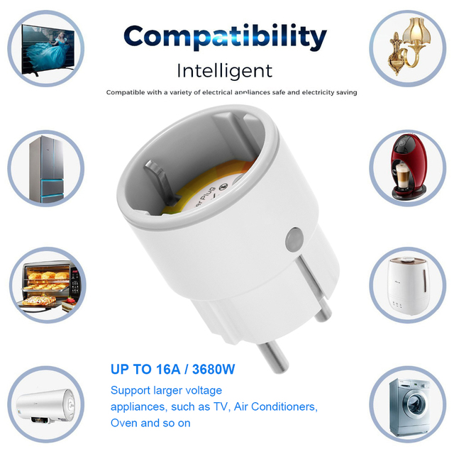 Smart Plug WiFi Control Socket 3680W 16A Power Energy Monitoring Timer Switch EU Outlet Voice Control by Alexa Google Home IFTTT 4