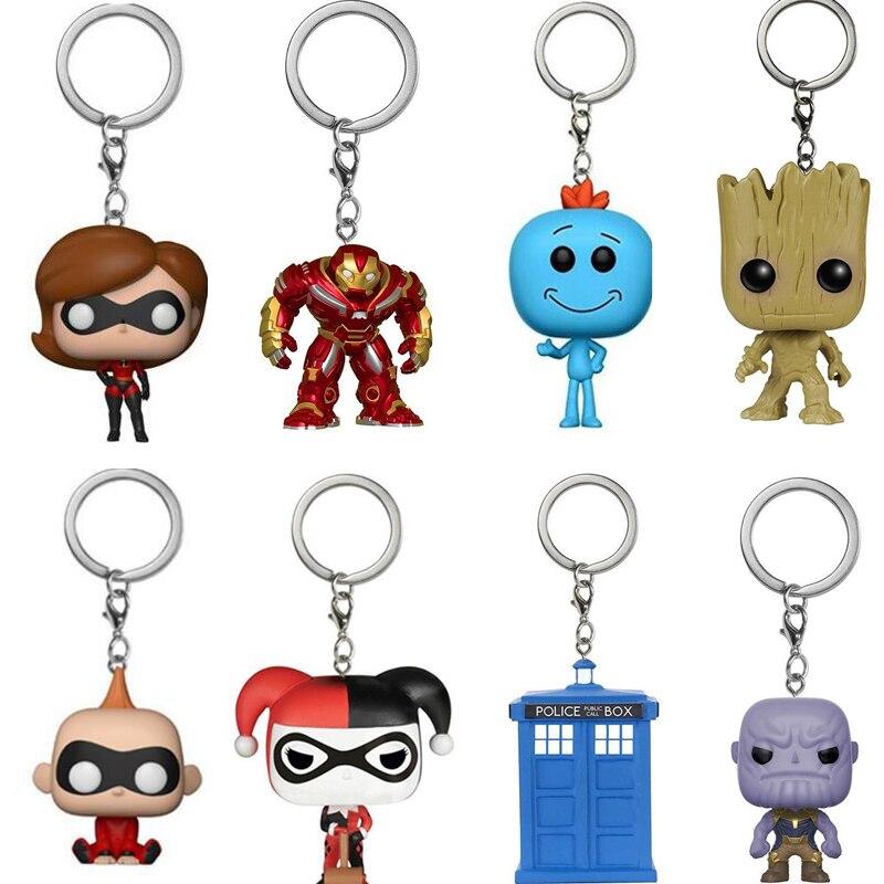 Incredibles 2 Action Figures Elastigirl Jack Keychain Toys Marvel Thanos Brick Figure Keychain Doctor Who Ricka and Morty Key ...