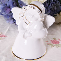 Cute Girl Little Angel Purely Manual Ceramics Statue Creative Craftwork Home Decorations Wedding Gift G1249
