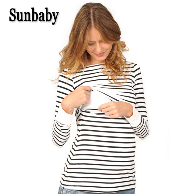 Maternity Clothing Spring Fashion Casual Striped O Neck Collar Long Sleeve Nursing Top Breastfeeding  For Pregnant Women