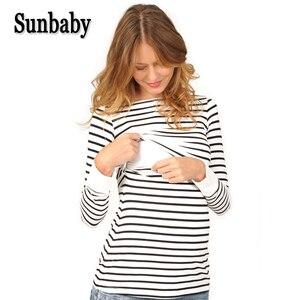 Image 1 - ملابس أمومة الربيع موضة عادية مخطط O طوق الرقبة طويلة الأكمام التمريض الرضاعة الطبيعية للنساء الحوامل