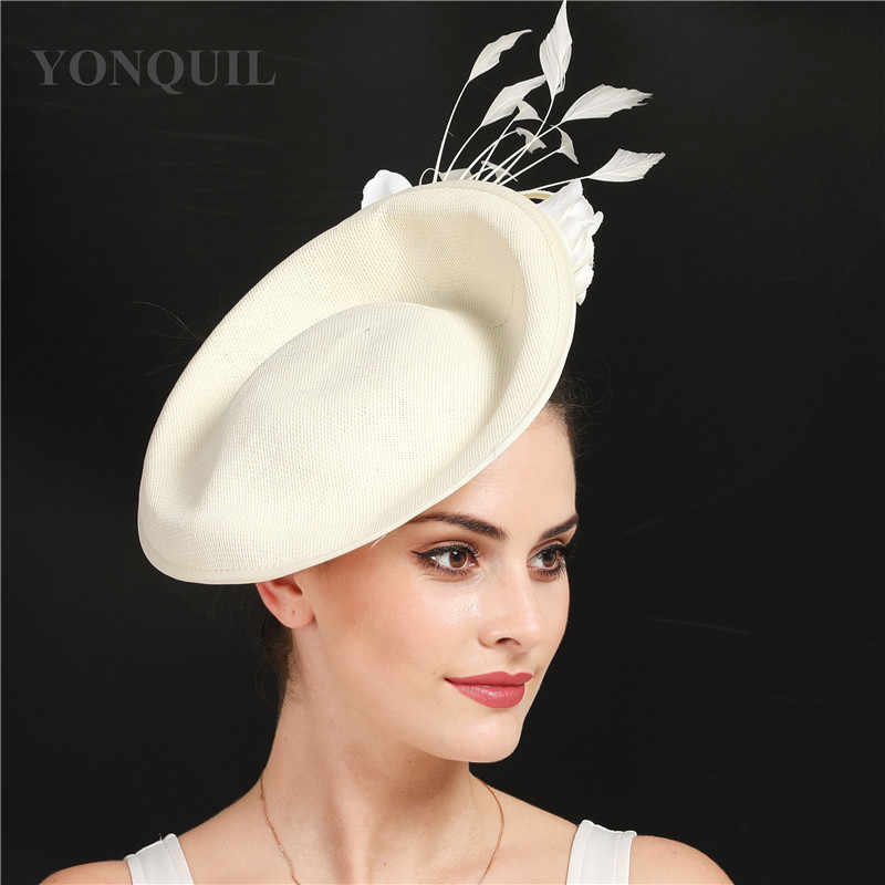 beige wedding hair accessories kentucky derby fascinator headwear High quality imitation linen  cocktail hat with flower SYF666