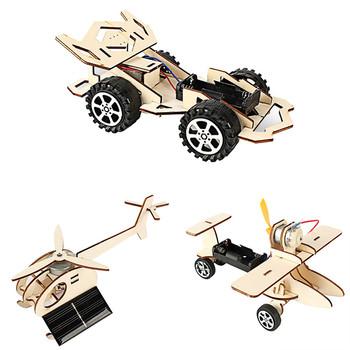 Drewniane do montażu zabawki fizyczne eksperymenty zestaw zabawek samochód samolot zmontowane zabawki modele dzieci nauczanie edukacyjne zabawki tanie i dobre opinie Drewna Other None See as discription Pojazdu Samoloty 5-7 lat ZHGZ12304 Unisex Model Building Kits