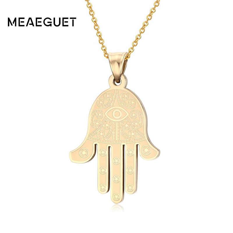Meaeguet Bijoux biżuteria w stylu Vintage Charm naszyjniki kobiety HAMSA Luck ręczny wisiorek Choker naszyjnik wielowarstwowe złoto kolor