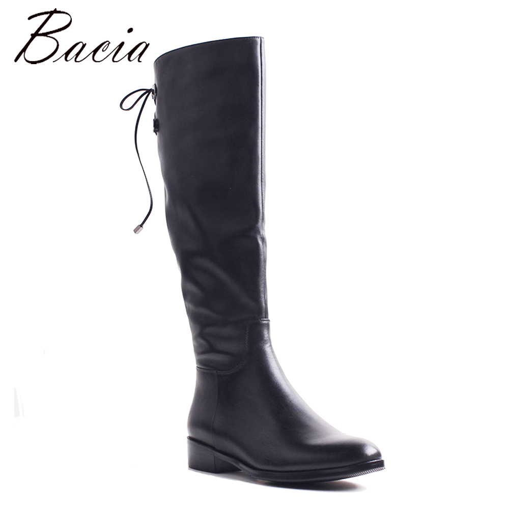 Bacia NEW Spring&Autumn Long Boots Plush Women Leather Shoes Handmade Black Knee-High Russia Boots Footwear Snow Botas VXB041 bacia russian original design boots knee high platform boot genuine leather quality shoes handmade footwear women botas vc001