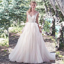 A line Tulle Beaded Lace Appliqued Customized Wedding Dresses Low Back Unique Design Bridal Gown