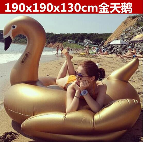 190*190*130cm golden swan style Inflatable Floating Row Beach seat swimming rings with electric air pump environmentally friendly pvc inflatable shell water floating row of a variety of swimming pearl shell swimming ring